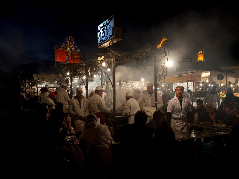 Marrakech lights up at night; very atmospheric